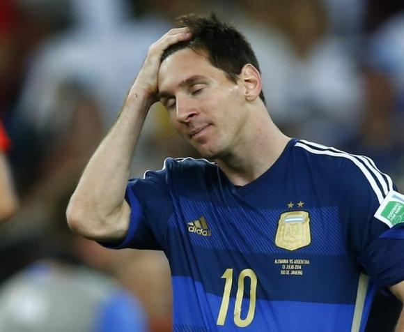 Argentina's Lionel Messi reacts after losing to Germany in their extra time in their 2014 World Cup final at the Maracana stadium in Rio de Janeiro